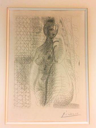 Acquaforte Picasso - Femme nue a la jambe plièe