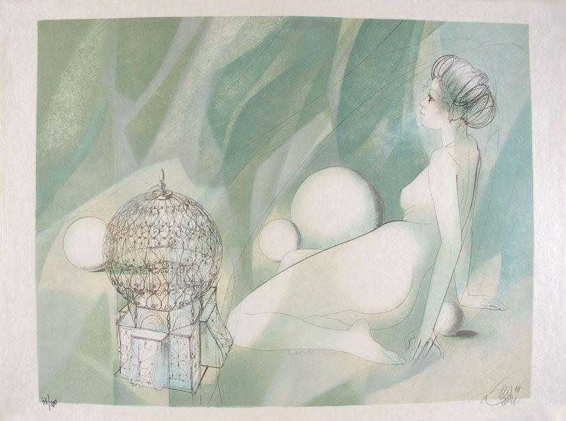 Litografia Valadie - Femme Nue Assise