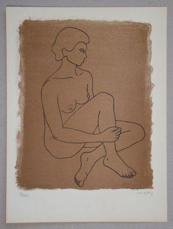 Litografia Vacossin - Femme nue assise