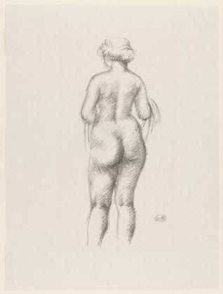 Litografia Maillol - Femme nue de dos tenant une echarpe