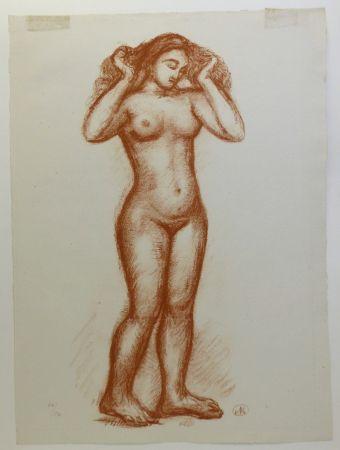 Litografia Maillol - Femme nue en pied. 1935