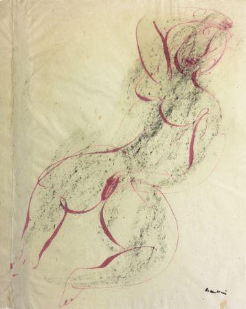 Monotipo Fautrier - Femme se caressant. Dessin original au pinceau (1942)