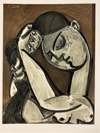 Litografia Picasso - Femme se coiffant 1955