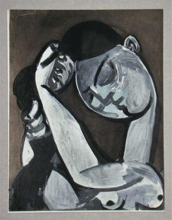 Pochoir Picasso - Femme se coiffant, Peinture, 1955