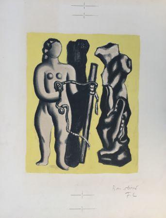 Litografia Leger - Femme sur fond jaune (Woman on yellow background)