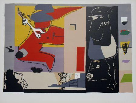 Litografia Le Corbusier - Femme Unicorne et Taureau Noir