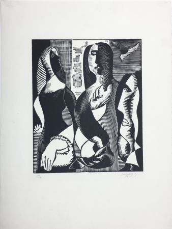 Incisione Su Legno Survage - Femmes Cubistes (Paris, 1933)