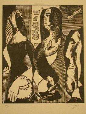 Incisione Su Legno Survage - Femmes Cubistique