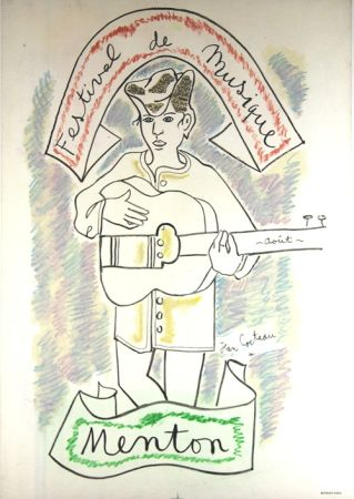 Litografia Cocteau - Festival de Musique de Menton