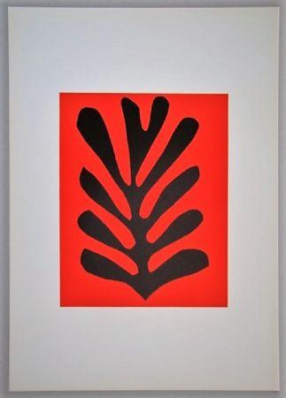 Litografia Matisse - Feuille Sur Fond Rouge