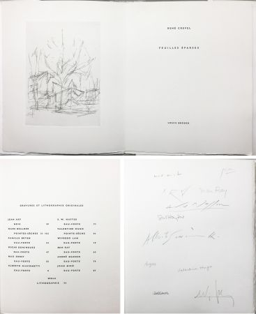 Libro Illustrato Giacometti - FEUILLES ÉPARSES (Avec 14 gravures de Arp, Miro, Ernst, Man Ray, Masson, etc.) 1965.