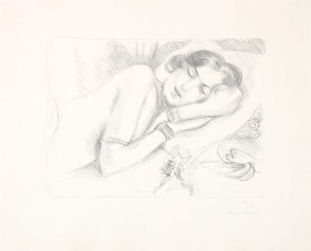 Litografia Matisse - Figure endormie aux babouches