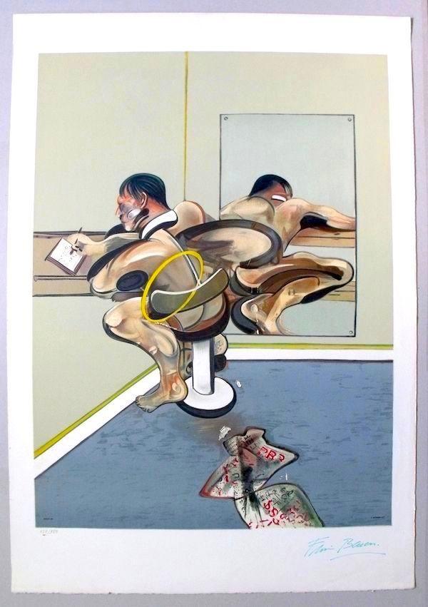 Litografia Bacon - Figure Writing Reflected In A Mirror
