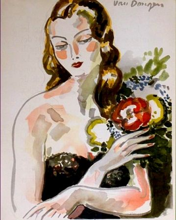 Litografia Van Dongen - Fille au Fleurs