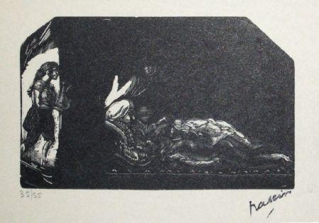 Incisione Su Legno Pascin - Fille avec fleur et scene de Harem