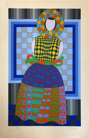 Serigrafia Vasarely - Fille Fleur