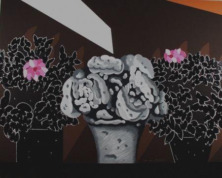 Serigrafia Pozzati - Fiori neri