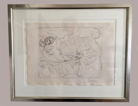 Litografia Picasso - Flûtiste et trois Femmes nues' de la 'Suite Vollard', 1932