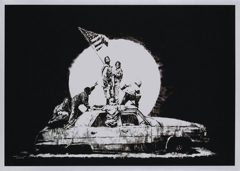 Serigrafia Banksy - FLAG (SILVER)