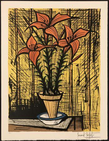 Litografia Buffet - Fleurs oranges dans un pot
