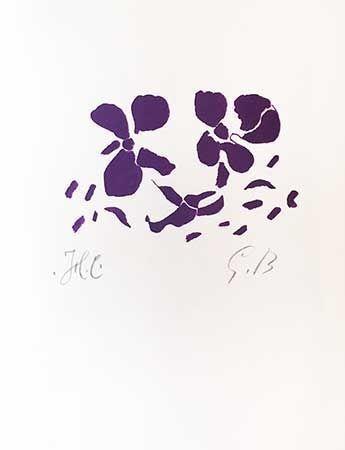Incisione Su Legno Braque - Fleurs Violettes