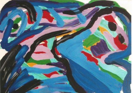 Litografia Appel - Floating in a landscape
