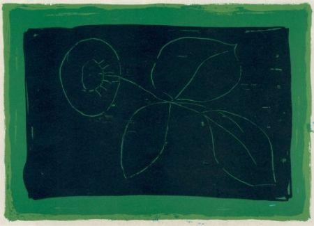 Litografia Hernandez Pijuan - Flor sobre negre / Flower on Black