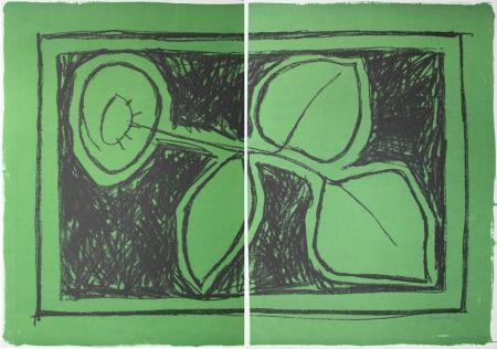 Litografia Hernandez Pijuan - Flor Sobre Verd / Flower On Green