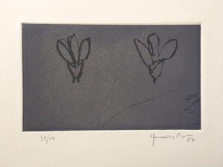 Incisione Hernandez Pijuan - Flores sobre gris