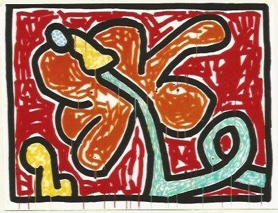Serigrafia Haring - Flower # 5