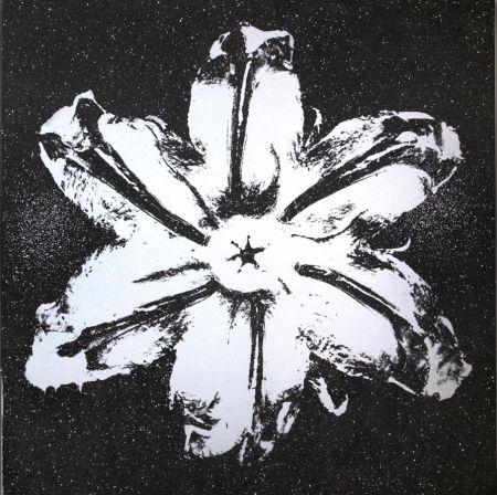 Serigrafia Robierb - Flower Power (Silver on Black)