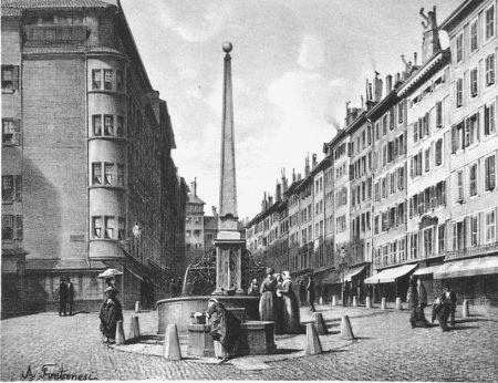 Litografia Fontanesi - Fontaine et rue de Coutance
