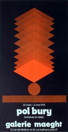 Manifesti Bury - FONTAINES ET RELIEFS. Affiche pour son exposition à la galerie Maeght en 1978. Lithographie originale.