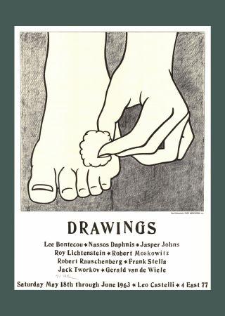 Litografia Lichtenstein - 'Foot Medication (Castelli Mailer)' Hand Signed Poster Print