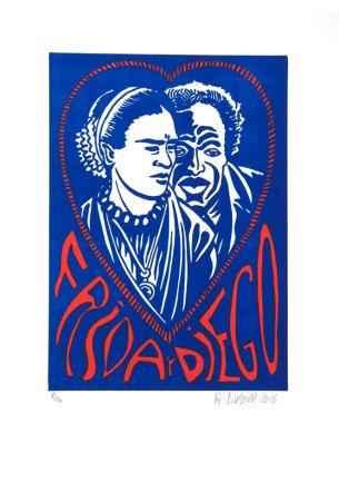 Litografia Di Rosa - Frida Y Diego