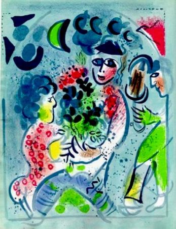 Litografia Chagall -  Frontispiece Woman With Flowers M.578