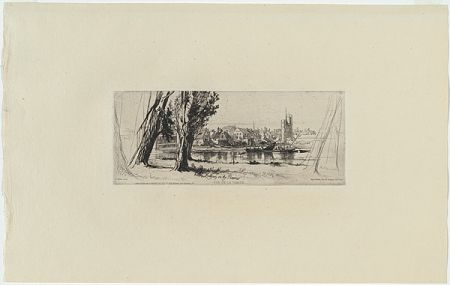 Incisione Haden - Fulham on the Thames, in