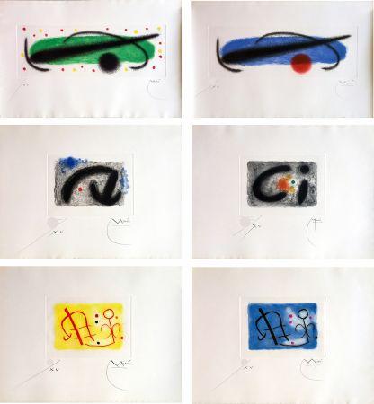 Acquaforte E Acquatinta Miró - FUSÉES. LA SUITE COMPLÈTE DES 15 AQUATINTES SIGNÉES (BRODER 1959).