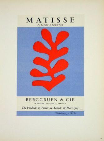 Litografia Matisse - Galerie Berggruen 1953