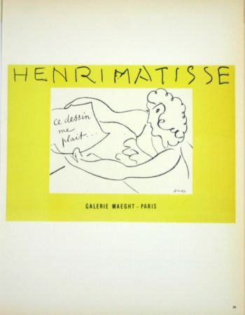 Litografia Matisse - Galerie Maeght  Ce Dessin me Plait
