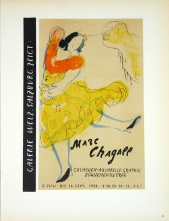 Litografia Chagall - Galerie Welz Salzburg - Gouachen-Aquarelle-Graphik Bûhnenentwûrfe