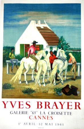 Litografia Brayer - Gardians en Provence Exposition Cannes 1961