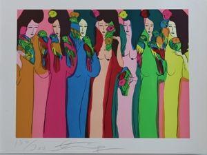 Litografia Ting - Geishas Et Perroquets