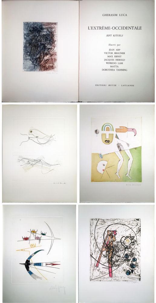 Libro Illustrato Brauner - Gherasim Luca : L'EXTRÊME-OCCIDENTALE. Gravures de Max Ernst, Victor Brauner, Dorothea Tanning, Hans Arp, Jacques Hérold, Wifredo Lam, Roberto Matta.