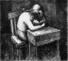 Acquaforte E Acquatinta Moore - Girl Doing Her Homework V