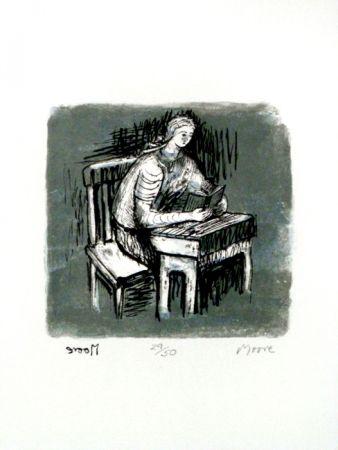 Litografia Moore - Girl Seated at Desk V