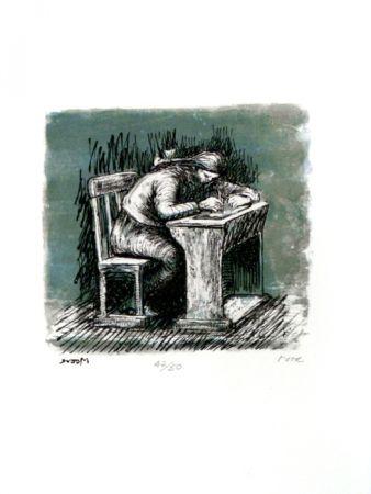 Litografia Moore - Girl Seated at Desk VI