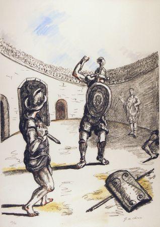 Litografia De Chirico - Gladiatori nell'arena