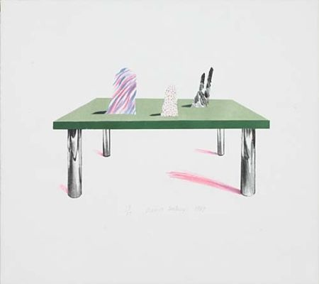 Litografia Hockney - Glass Table with Objects