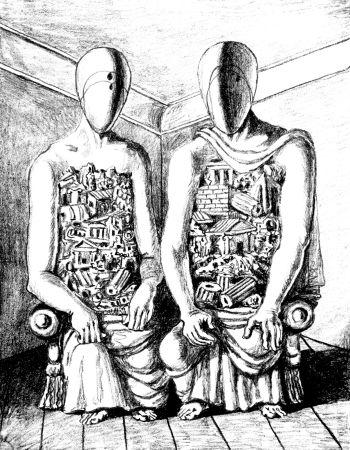 Litografia De Chirico - Gli Archeologi V
